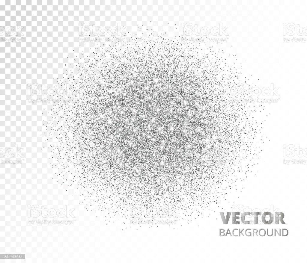 Sparkling circle, silver glitter explosion. Vector dust, diamonds, snow on transparent background. vector art illustration