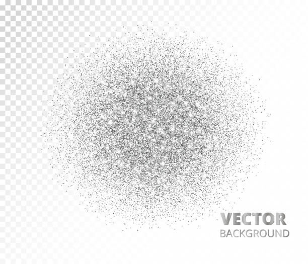Sparkling circle, silver glitter explosion. Vector dust, diamonds, snow on transparent background. vector art illustration