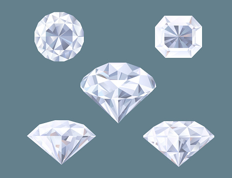 Sparkling Diamond Shaped Jewelry Shiny Crystal Precious Gem Jewel Set