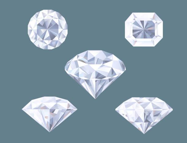 illustrazioni stock, clip art, cartoni animati e icone di tendenza di luccicanti a forma di diamante gioiello brillante cristallo preziosa gemma set - brillante