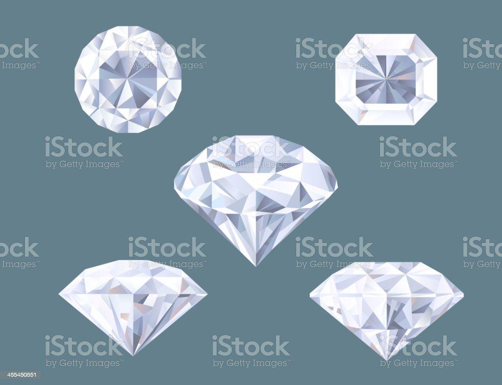 Sparkling Diamond Shaped Jewelry Shiny Crystal Precious Gem Jewel Set vector art illustration