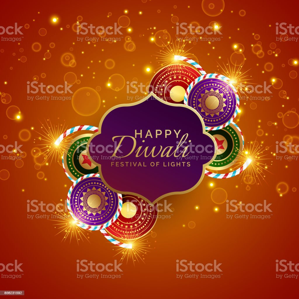 sparkling diwali festival sale background with crackers vector art illustration