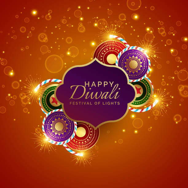 sparkling diwali festival sale background with crackers - diwali stock illustrations, clip art, cartoons, & icons
