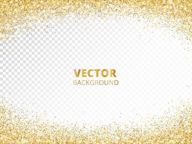 sparkling glitter border, frame. falling golden dust isolated on transparent. vector gold glittering decoration. - rock formations stock illustrations