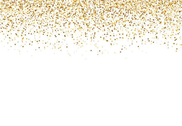 błyszczący brokat. spadający złoty pył izolowany na białym tle na imprezę, wesele, plakaty, kartki, boże narodzenie, nowy rok, wszystkiego najlepszego. ilustracja wektorowa - białe tło stock illustrations