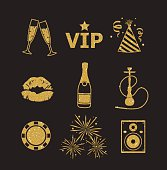 A collection of sparkling gold glitter stylized fancy night club and party icons for flier, banner, typography, web, design.