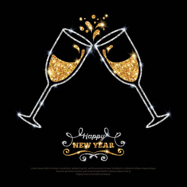 stockillustraties, clipart, cartoons en iconen met sparkling gold silver champagne glasses. - fresh start yellow