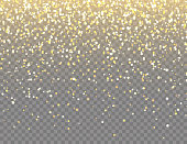 istock Sparkling Golden Glitter with Bokeh Lights on Transparent Vector Background. Falling Shiny Confetti with Gold Shards. Shining Light Effect for Christmas or New Year Greeting Card 1289447512