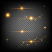 glittering wave. Vector golden sparkling star.  glowing stardust trail. Golden stars and lights. Light effects. On a transparent background. Vector. Eps10.