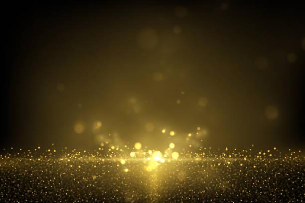 黑色上閃閃發光的金色顆粒 - 粒子 幅插畫檔、美工圖案、卡通及圖標
