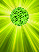 Sparkling green discoball on a glowing starburst background. EPS 8 vector file included