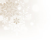 Modern Christmas, winter background. Sparkling, glowing background with snowflakes and bokeh, defocused lights.