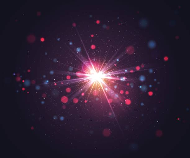 Sparkling light effects, bokeh, flash light and glitter particles Abstract colorful blurred background. Beautiful minimalistic vector illustration. Clean design excitement stock illustrations
