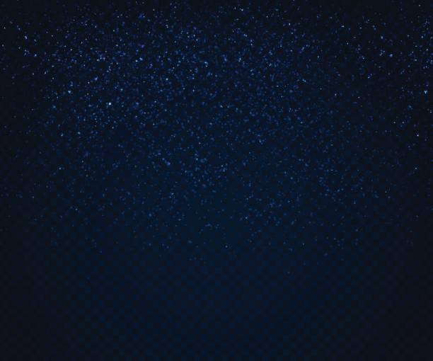 Sparkling light effects on dark background. Randomly scattered glowing particles vector art illustration