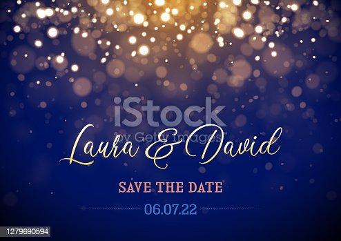 Sparkling golden lights wedding save the date card design vector illustration