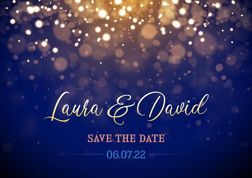 Sparkling lights Wedding invitation