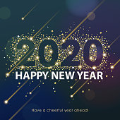 Join the celebration party for the New Year 2020 with lights sparkling on the starry background and forming the shape of 2020