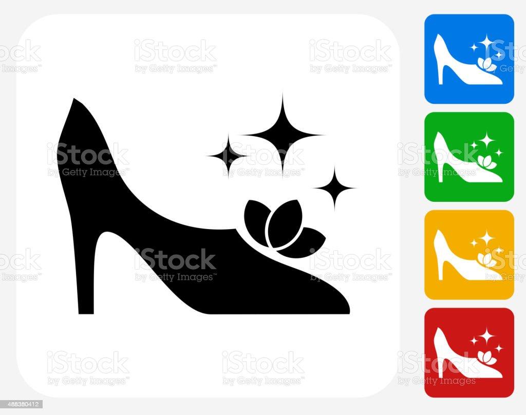 Glitzernde Schuh Symbol flache Grafik Design – Vektorgrafik