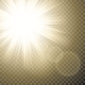 Sparkling sun rays with hot spot and flares with sun flare effect on transparent vector background .
