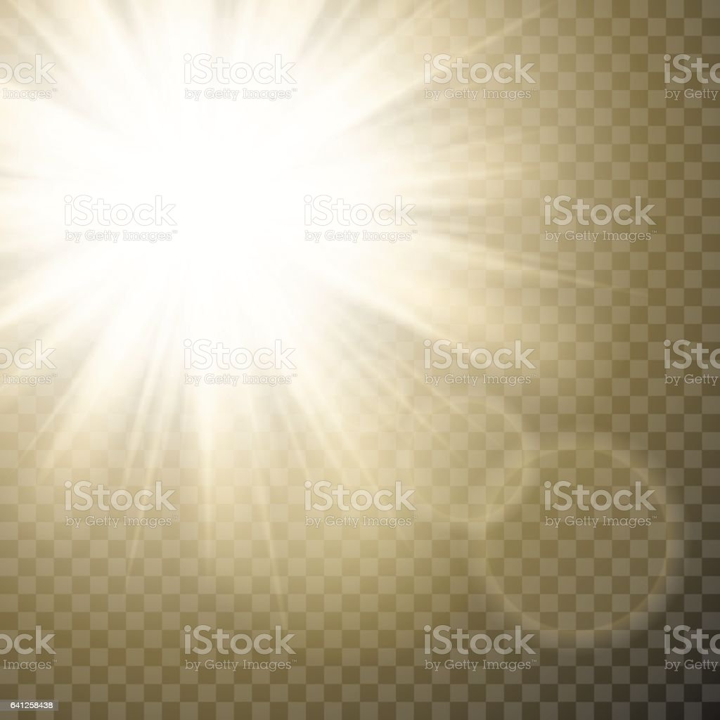 Sparkling sun rays with hot spot and flares with sun flare effect on transparent vector background . vector art illustration