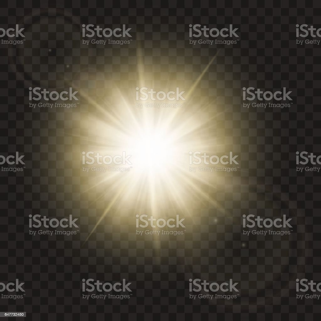 Sparkling sun rays with hot spot and flares with sun flare effect isolated on vector background . vector art illustration