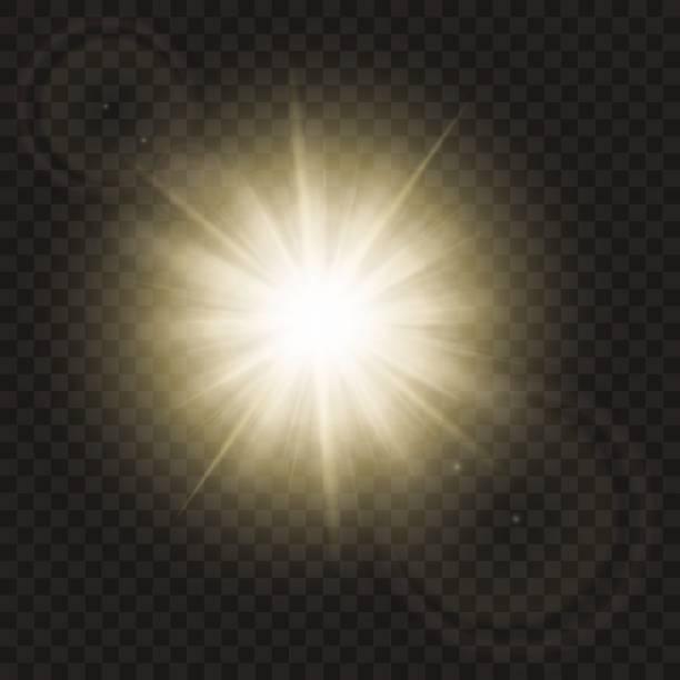 illustrazioni stock, clip art, cartoni animati e icone di tendenza di sparkling sun rays with hot spot and flares with sun flare effect isolated on vector background . - aureola