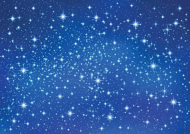 illustrations, cliparts, dessins animés et icônes de sparkling twinkling stars on blue background. christmas abstract (xmas) galaxy - ciel etoile