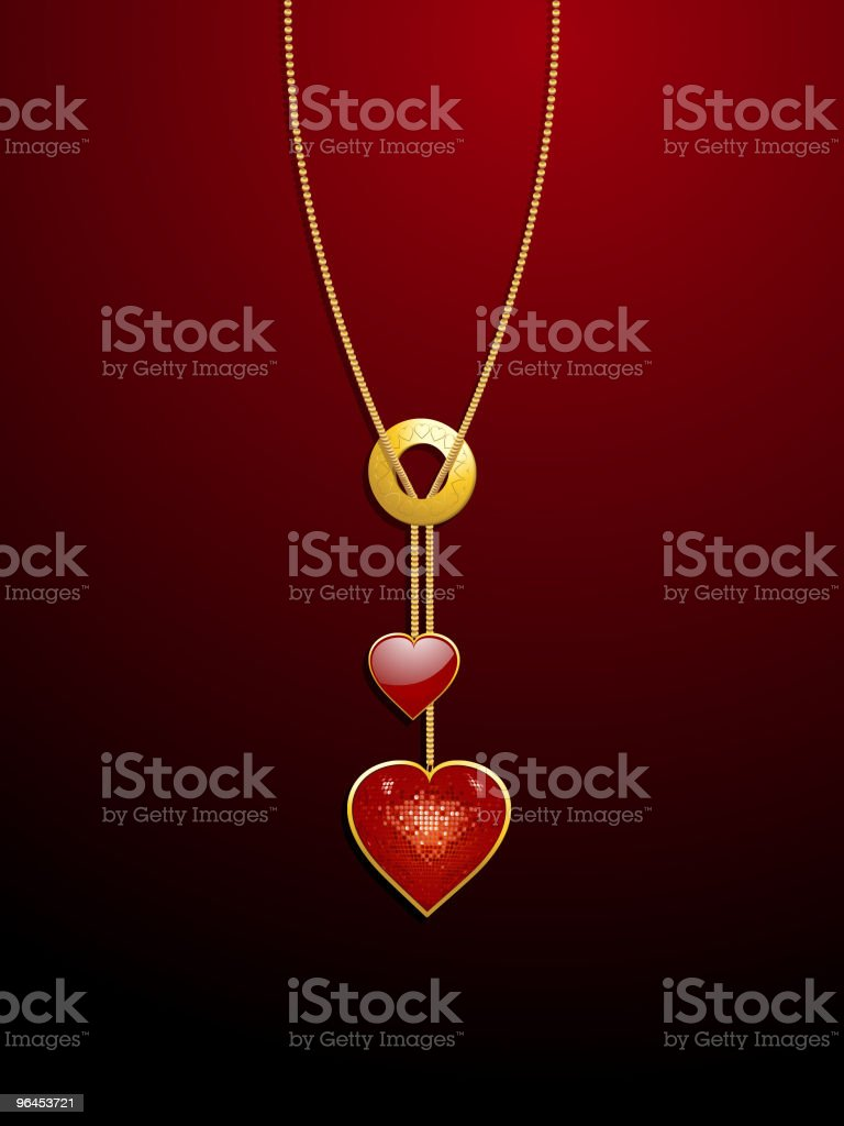 Sparkling valentine heart necklace royalty-free stock vector art