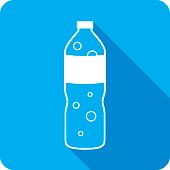 Vector illustration of a blue sparkling water icon in flat style.