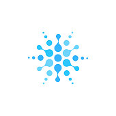 istock Sparkling water logo, abstract round logotype template, blue dotted emblem, vector drink label concept on white background 1254368794