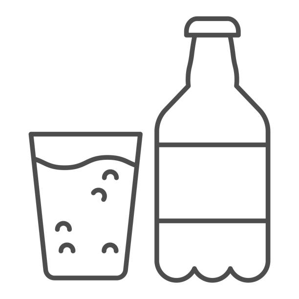Sparkling water thin line icon. Bottle of water and glass vector illustration isolated on white. Water with bubbles outline style design, designed for web and app. Eps 10. Sparkling water thin line icon. Bottle of water and glass vector illustration isolated on white. Water with bubbles outline style design, designed for web and app. Eps 10 alcohol drink clipart stock illustrations