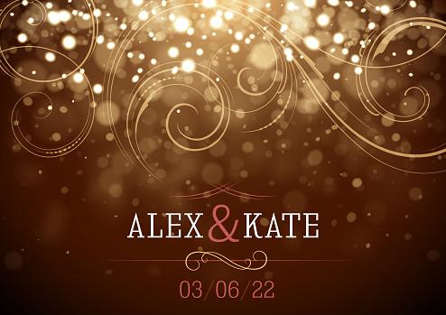 Sparkling Wedding invitation vector illustration