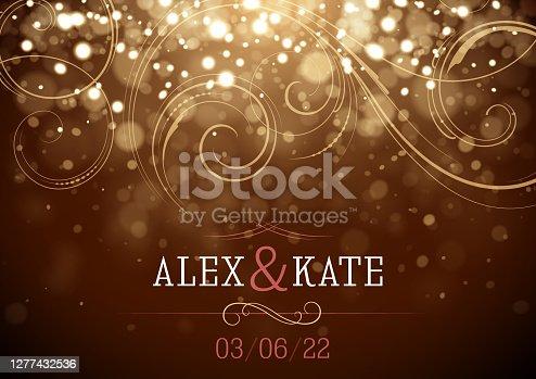 istock Sparkling Wedding invitation vector illustration 1277432536