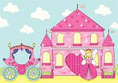 Sparkly Pink Palace with Cute Fairy Princess and Carriage.