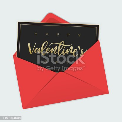 Hand lettered glitter Valentine's day greeting card in a red envelope. EPS10 vector illustration, global colors, easy to modify.
