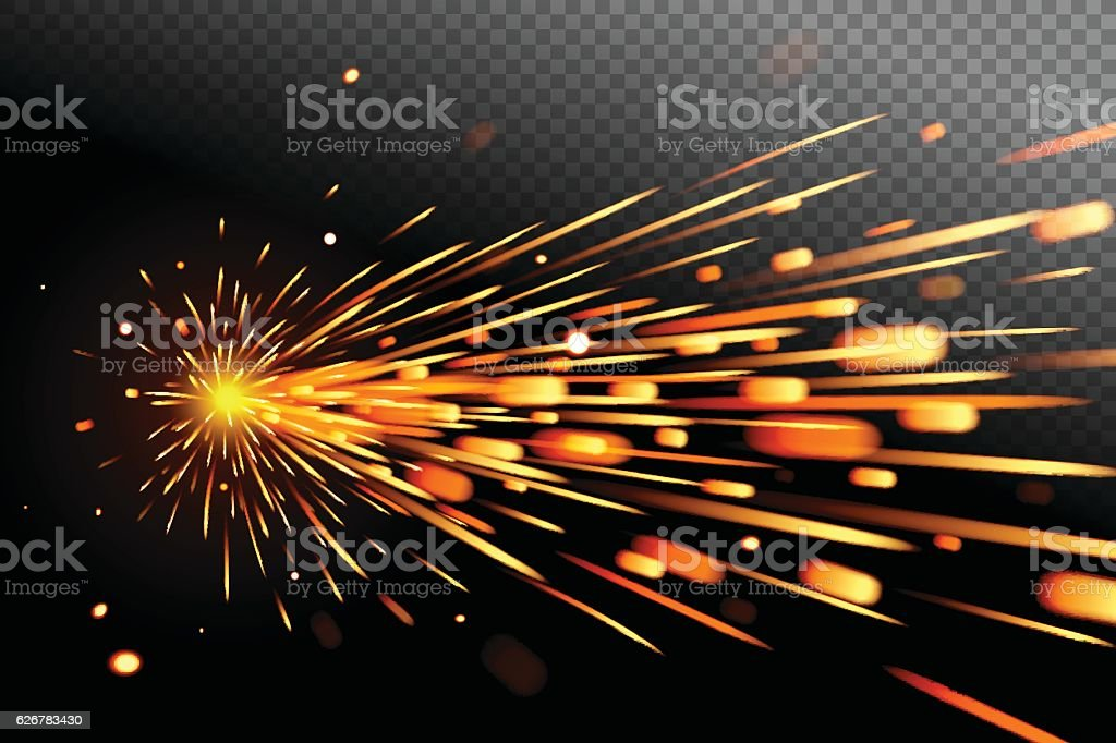 Sparks effect on transparent background. Glow special effect vector art illustration