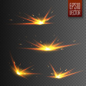 Sparks isolated on transparent background. Vector light effect