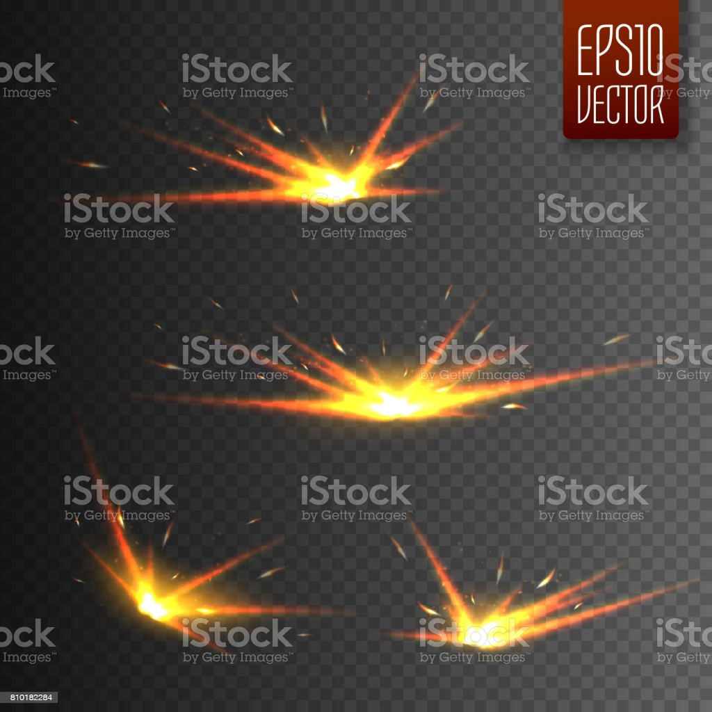 Sparks isolated on transparent background. Vector light effect vector art illustration