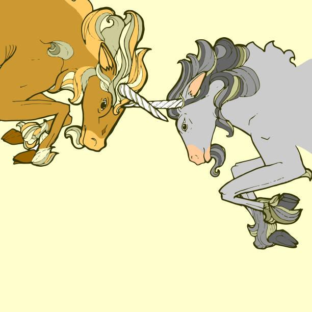 Sparring Unicorns vector art illustration