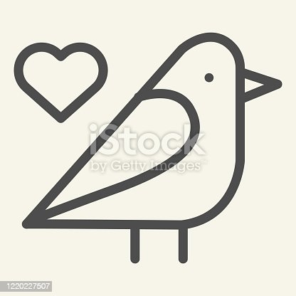 Sparrow bird line icon. Small finchlike bird with heart symbol outline style pictogram on white background. Dove silhouette for mobile concept and web design. Vector graphics