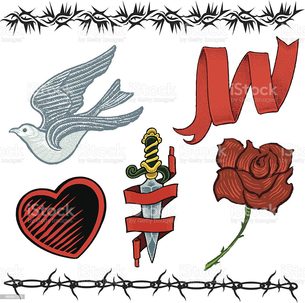 Sparrow, Heart, Rose, Dagger, Barbed Wire and Ribbon Tattoo Designs royalty-free sparrow heart rose dagger barbed wire and ribbon tattoo designs stock vector art & more images of barbed wire