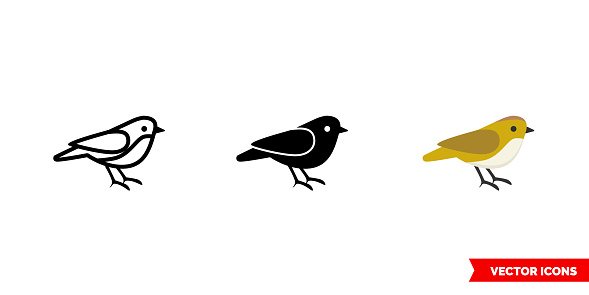 Sparrow icon of 3 types color, black and white, outline. Isolated vector sign symbol