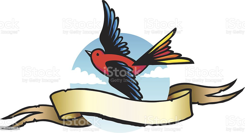 Sparrow & Scroll vector art illustration