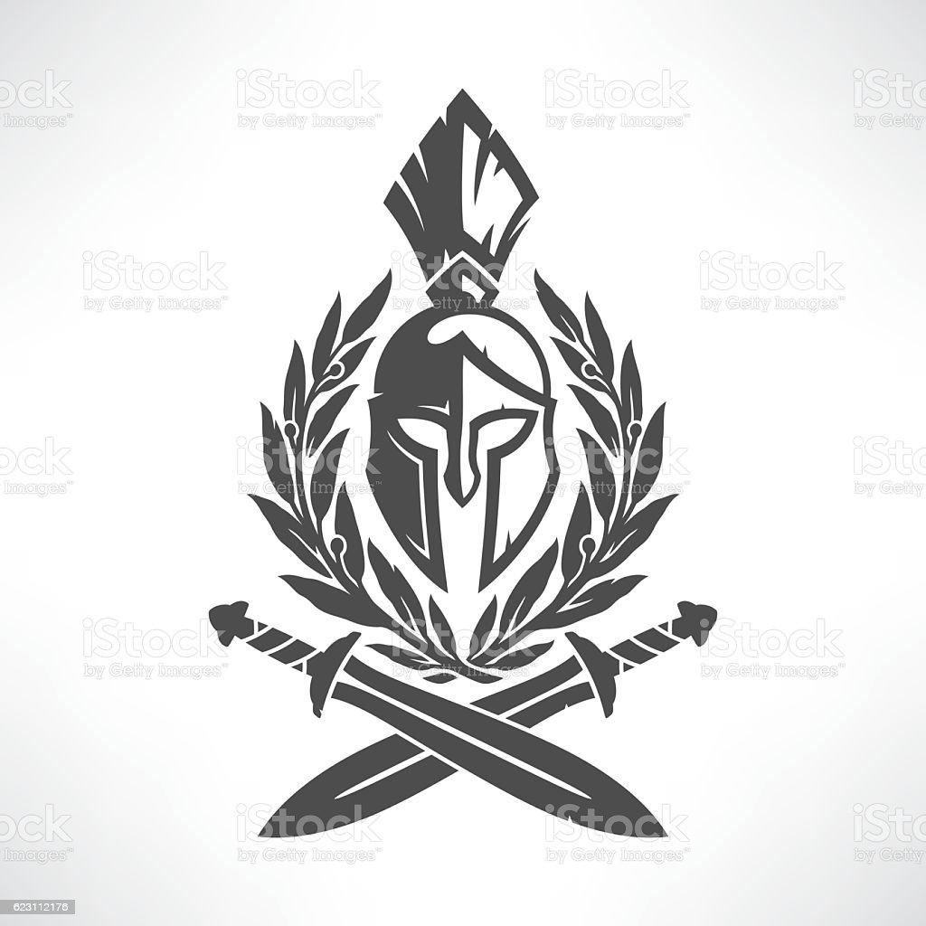 Sparta coat of arms vector art illustration