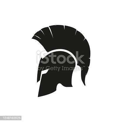 Sparta helmet mask isolated icon. Vector design logo illustration in flat style