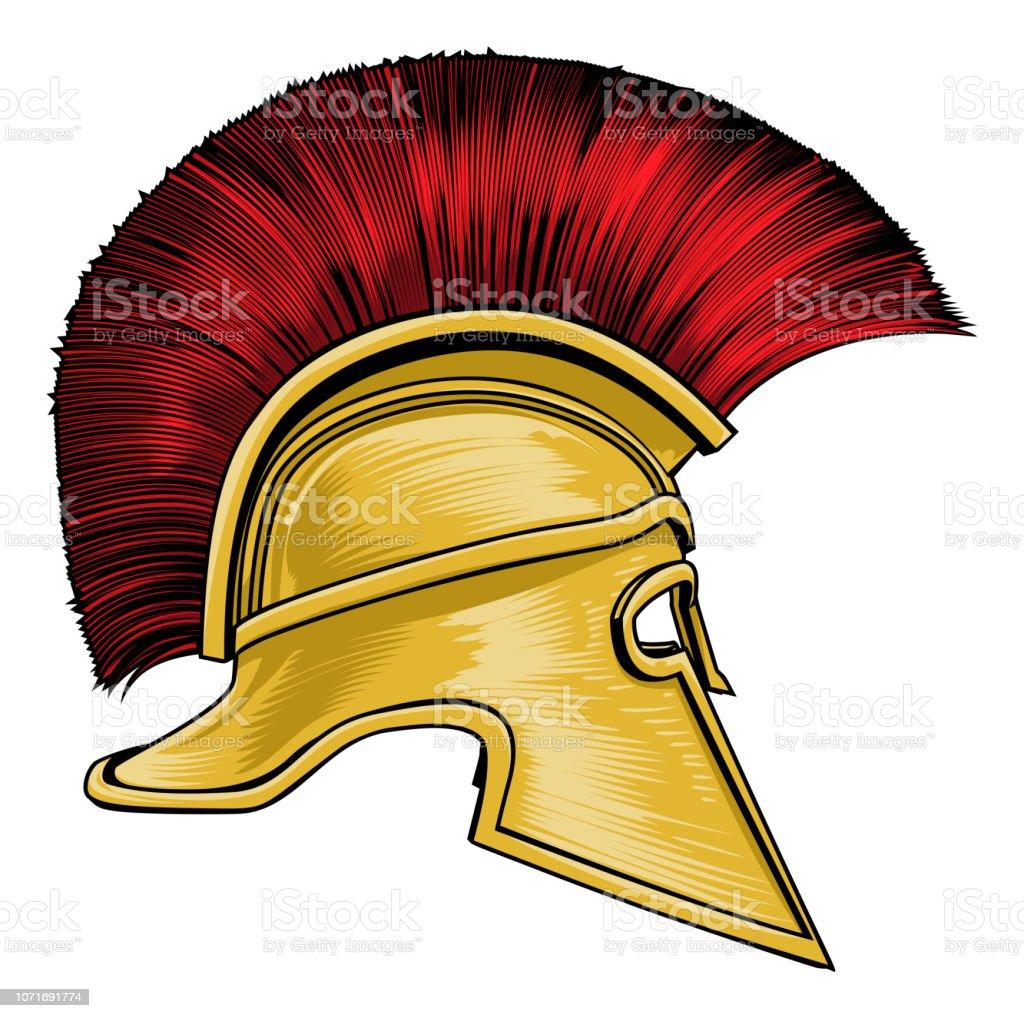 Spartan Ancient Greek Gladiator Warrior Helmet vector art illustration
