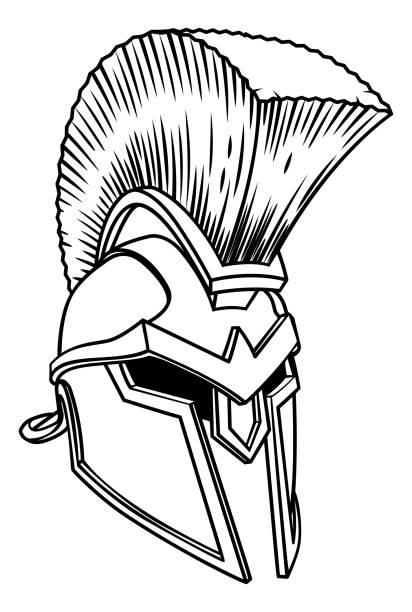 spartan antiken griechischen helm - sportschutzhelm stock-grafiken, -clipart, -cartoons und -symbole