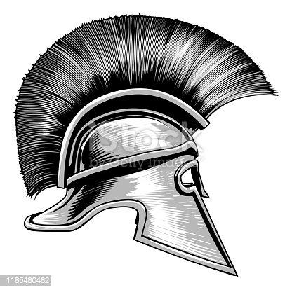 An ancient Spartan Greek, Trojan or Roman gladiator warrior helmet