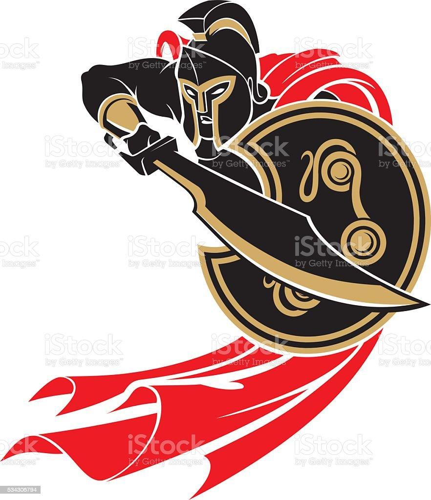 Spartan Battle Stance vector art illustration