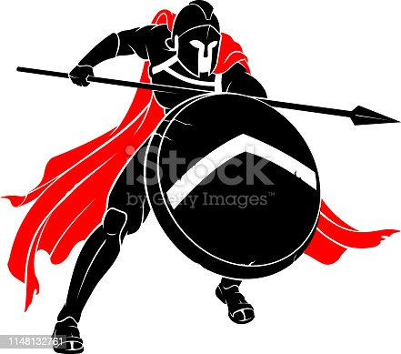 Isolated vector illustration of medieval soldier attack with spear weapon and shield.